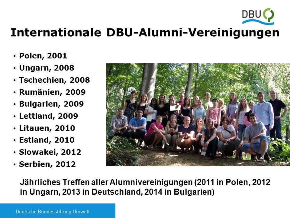8 Internationale DBU-Alumni-Vereinigungen Polen, 2001 Ungarn, 2008 Tschechien, 2008 Rumänien, 2009 Bulgarien, 2009 Lettland, 2009 Litauen, 2010 Estlan