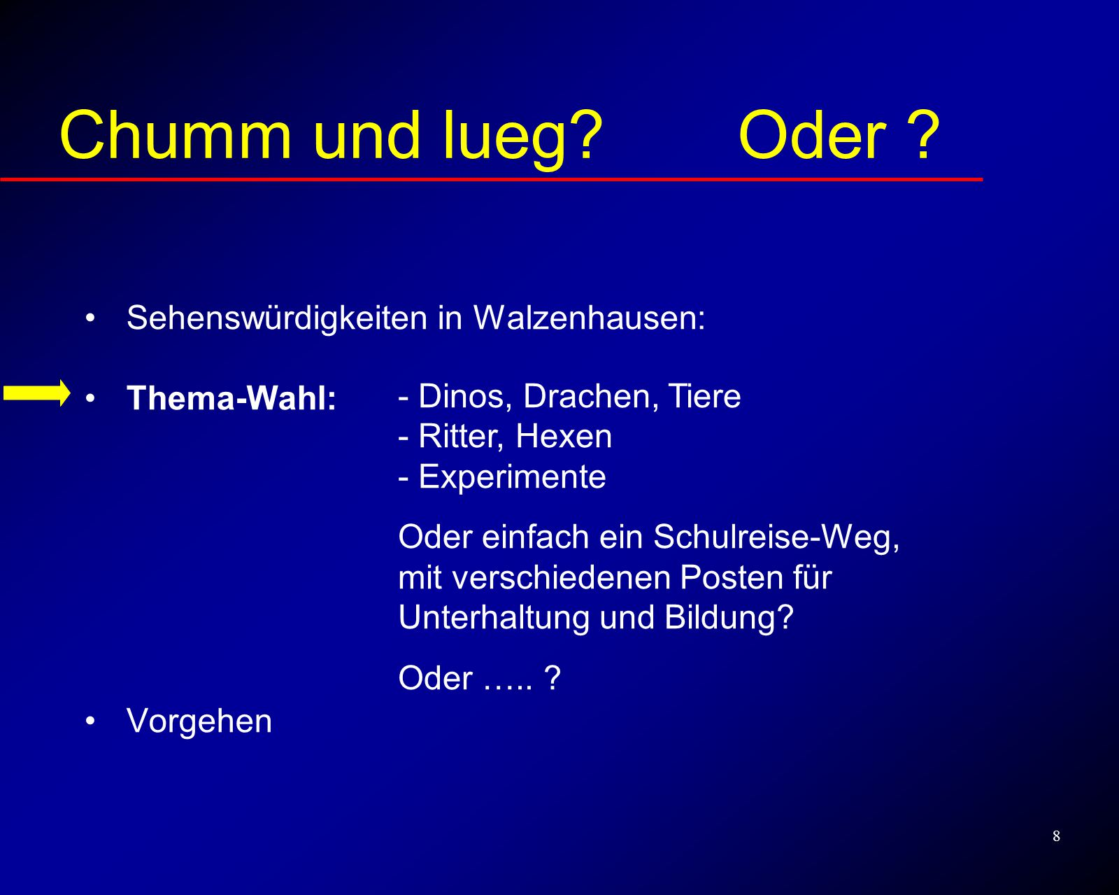 9 Vorgehen Sehenswürdigkeiten in Walzenhausen: Thema-Wahl Vorgehen: Chumm und lueg.