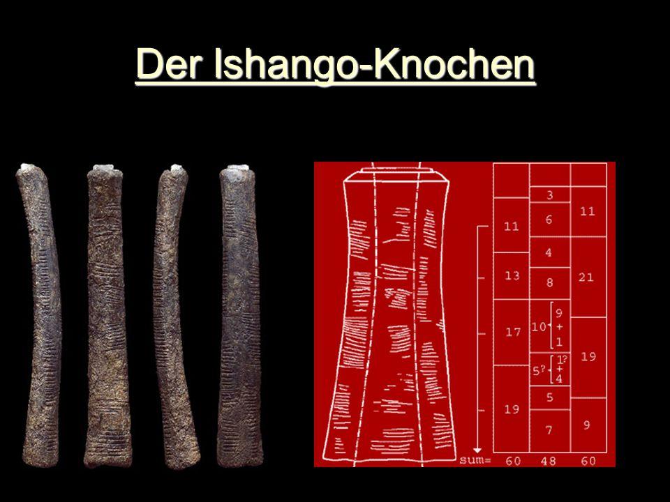 Der Ishango-Knochen Der Ishango-Knochen Ca. 20 000 Jahre Uganda-Congo Sinnlose Striche? Verzierung? Mathematische Tabelle? Kalender?