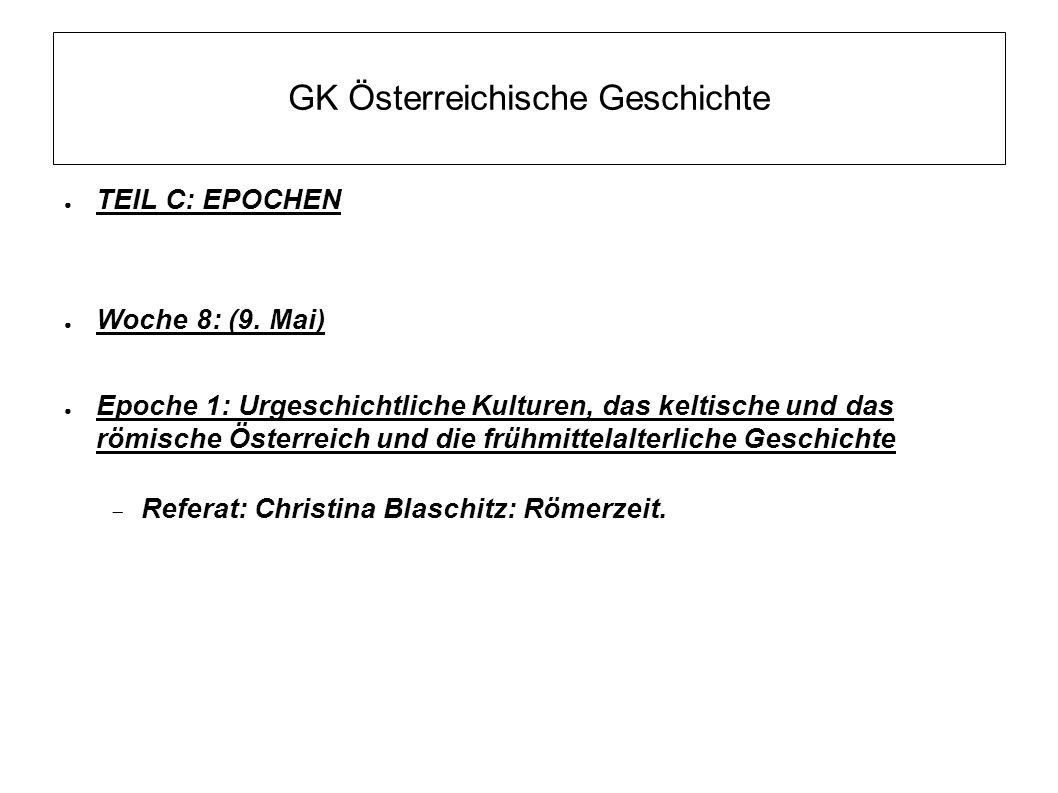 """GK Österreichische Geschichte  """"Urgeschichte ca."""