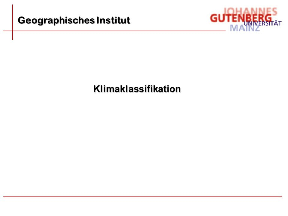 Geographisches Institut Klimaklassifikation