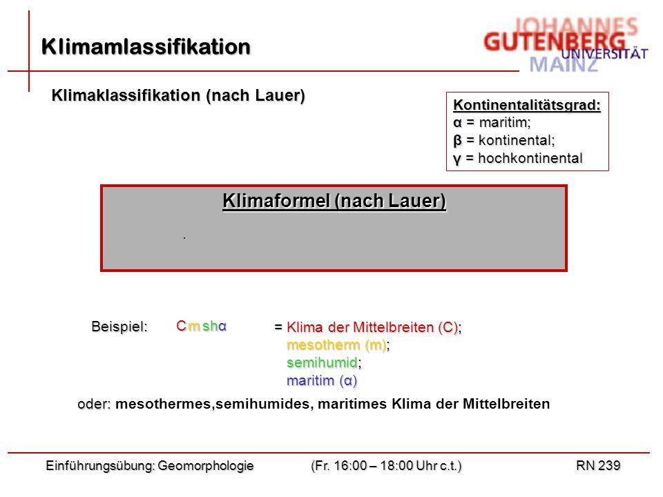 αsh Einführungsübung: Geomorphologie(Fr.