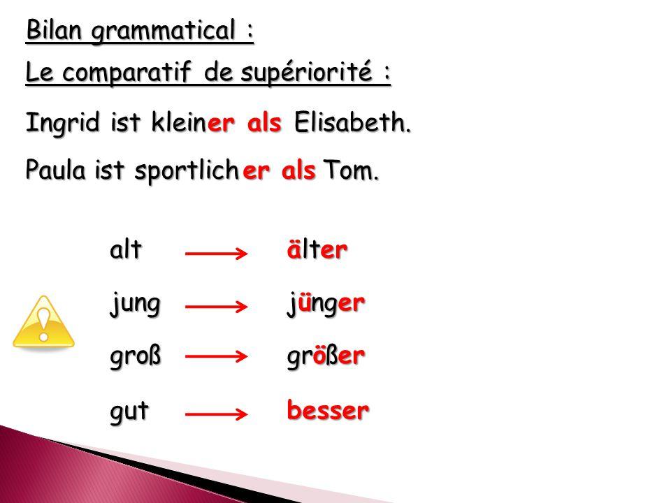 Bilan grammatical : Le comparatif de supériorité : Ingrid ist klein Elisabeth.