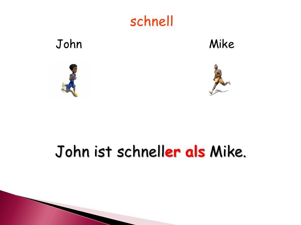 JohnMike John ist schneller als Mike. schnell