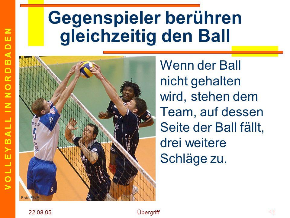 V O L L E Y B A L L I N N O R D B A D E N 22.08.05 Übergriff11 Gegenspieler berühren gleichzeitig den Ball Wenn der Ball nicht gehalten wird, stehen dem Team, auf dessen Seite der Ball fällt, drei weitere Schläge zu.