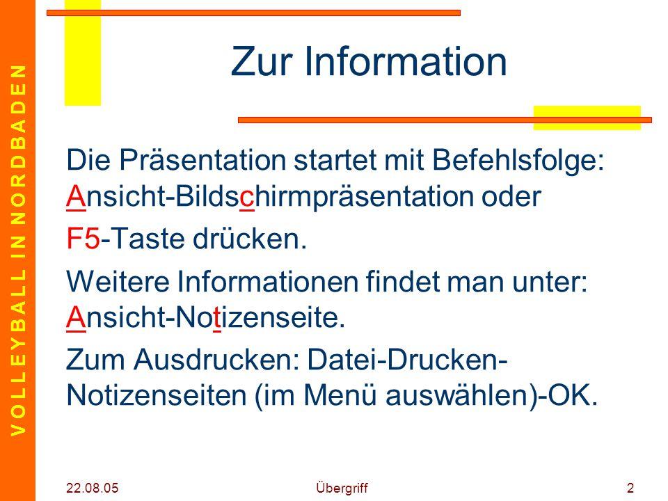 V O L L E Y B A L L I N N O R D B A D E N 22.08.05 Übergriff2 Zur Information Die Präsentation startet mit Befehlsfolge: Ansicht-Bildschirmpräsentation oder F5-Taste drücken.
