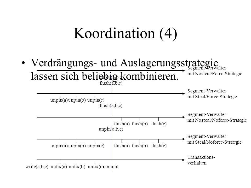 Koordination (4) Verdrängungs- und Auslagerungsstrategie lassen sich beliebig kombinieren. unpin(a,b,c) flush(a,b,c) Segment-Verwalter mit Nosteal/For