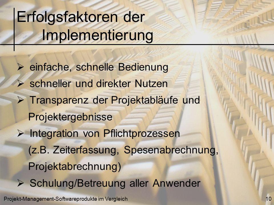 Projekt-Management-Softwareprodukte im Vergleich10  einfache, schnelle Bedienung  schneller und direkter Nutzen  Transparenz der Projektabläufe und