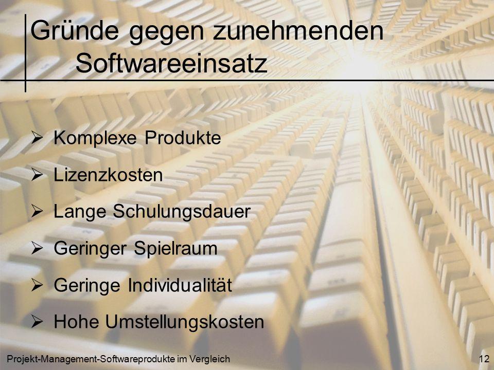 Projekt-Management-Softwareprodukte im Vergleich12  Komplexe Produkte  Lizenzkosten  Lange Schulungsdauer  Geringer Spielraum  Geringe Individual