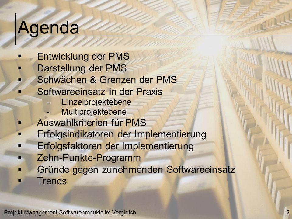 Projekt-Management-Softwareprodukte im Vergleich3 Entwicklung der PMS 70er Jahre: Entstehung der ersten PMS-Systeme (Großrechner) 80er Jahre: Entwicklung der PMS-Systeme für den PC: - Einzel-Projekt-Management-Systeme - Multi-Projekt-Management-Systeme 90er Jahre: Entwicklung der Enterprise-Management-Systeme (EMS-Systeme)