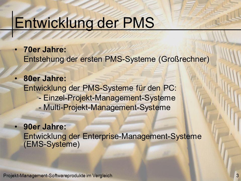 Projekt-Management-Softwareprodukte im Vergleich3 Entwicklung der PMS 70er Jahre: Entstehung der ersten PMS-Systeme (Großrechner) 80er Jahre: Entwickl