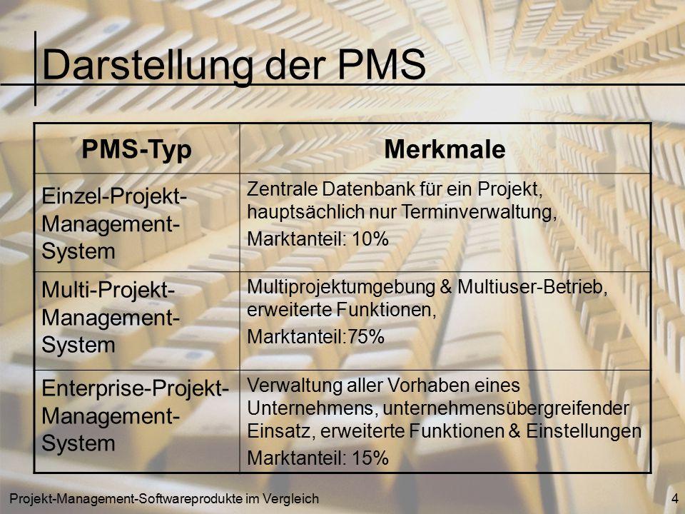 Projekt-Management-Softwareprodukte im Vergleich4 Darstellung der PMS PMS-TypMerkmale Einzel-Projekt- Management- System Zentrale Datenbank für ein Pr