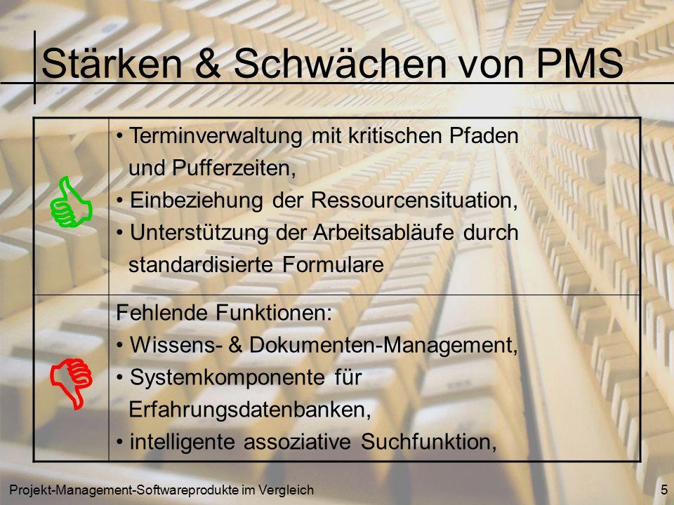 Projekt-Management-Softwareprodukte im Vergleich5 Stärken & Schwächen von PMS  Terminverwaltung mit kritischen Pfaden und Pufferzeiten, Einbeziehung