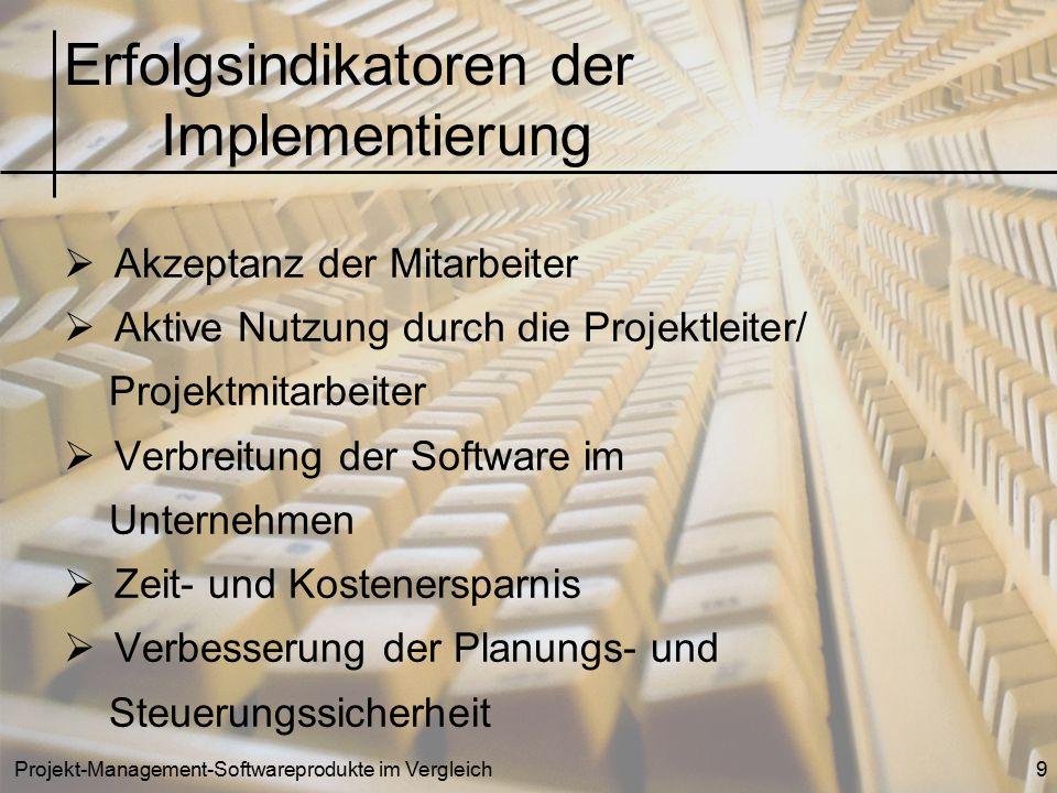 Projekt-Management-Softwareprodukte im Vergleich9  Akzeptanz der Mitarbeiter  Aktive Nutzung durch die Projektleiter/ Projektmitarbeiter  Verbreitu