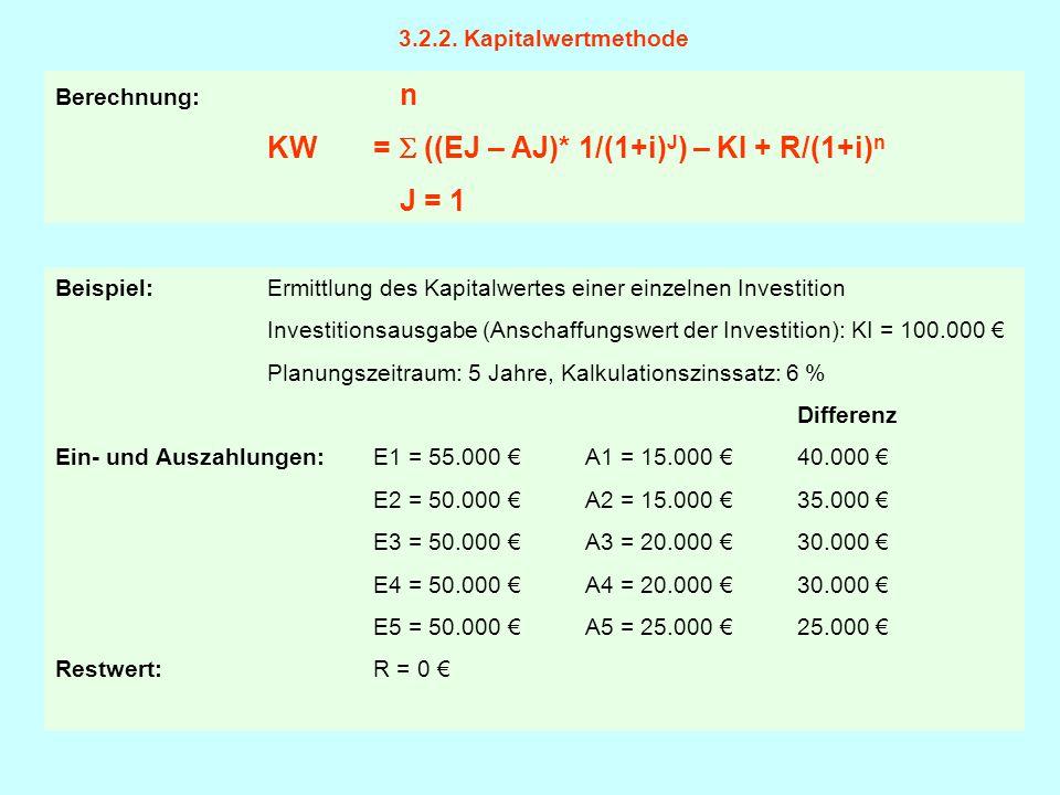 Beispiel: Ermittlung des Kapitalwertes einer einzelnen Investition Investitionsausgabe (Anschaffungswert der Investition): KI = 100.000 € Planungszeit