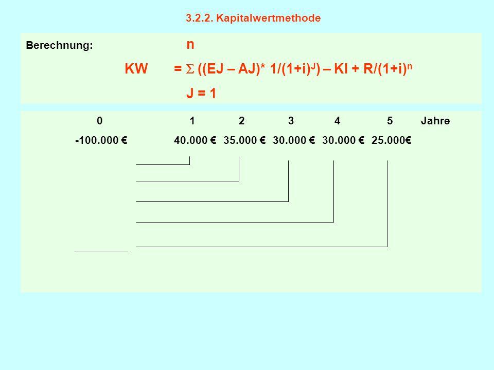 3.2.2. Kapitalwertmethode 0 1 2 3 4 5 Jahre -100.000 €40.000 € 35.000 € 30.000 € 30.000 €25.000€ Berechnung: n KW =  ((EJ – AJ)* 1/(1+i) J ) – KI + R