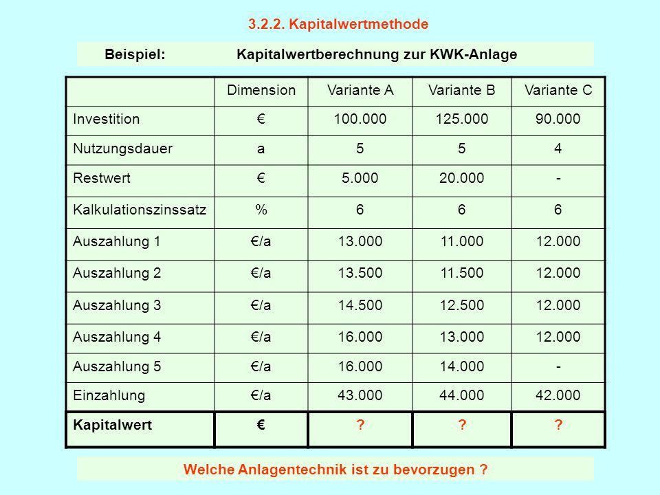 3.2.2. Kapitalwertmethode DimensionVariante AVariante BVariante C Investition€100.000125.00090.000 Nutzungsdauera554 Restwert€5.00020.000- Kalkulation