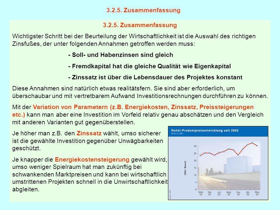 3.2.5. Zusammenfassung Wichtigster Schritt bei der Beurteilung der Wirtschaftlichkeit ist die Auswahl des richtigen Zinsfußes, der unter folgenden Ann
