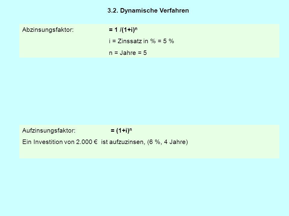 Abzinsungsfaktor:= 1 /(1+i) n i = Zinssatz in % = 5 % n = Jahre = 5 Aufzinsungsfaktor: = (1+i) n Ein Investition von 2.000 € ist aufzuzinsen, (6 %, 4