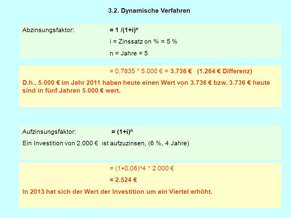 Beispiel: Ermittlung des Kapitalwertes einer einzelnen Investition Investitionsausgabe (Anschaffungswert der Investition): KI = 100.000 € Planungszeitraum: 5 Jahre, Kalkulationszinssatz: 6 % Differenz Ein- und Auszahlungen: E1 = 55.000 € A1 = 15.000 €40.000 € E2 = 50.000 €A2 = 15.000 €35.000 € E3 = 50.000 €A3 = 20.000 €30.000 € E4 = 50.000 €A4 = 20.000 €30.000 € E5 = 50.000 €A5 = 25.000 €25.000 € Restwert: R = 0 € 3.2.2.
