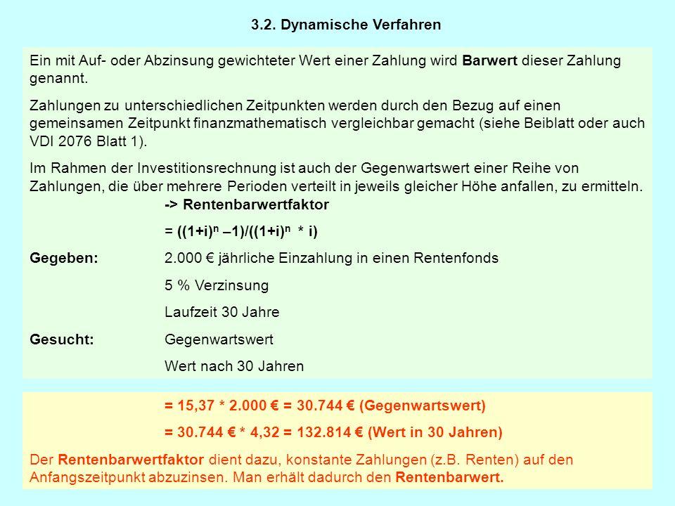 Wird eine zum Zeitpunkt t0 zu gleichen Teilen über eine Anzahl von Jahren (erwartete Nutzungsdauer) einschließlich Zinseszins verteilt, rechnet man mit dem -> Annuitätenfaktor: = ((1+i) n * i)/ ((1+i) n –1) (gleiches Beispiel s.o.) Gegeben:Barwert:30.744 € Zinssatz:5 % Gesucht:Gleichverteilung der Zahlung über 30 Jahre 3.2.