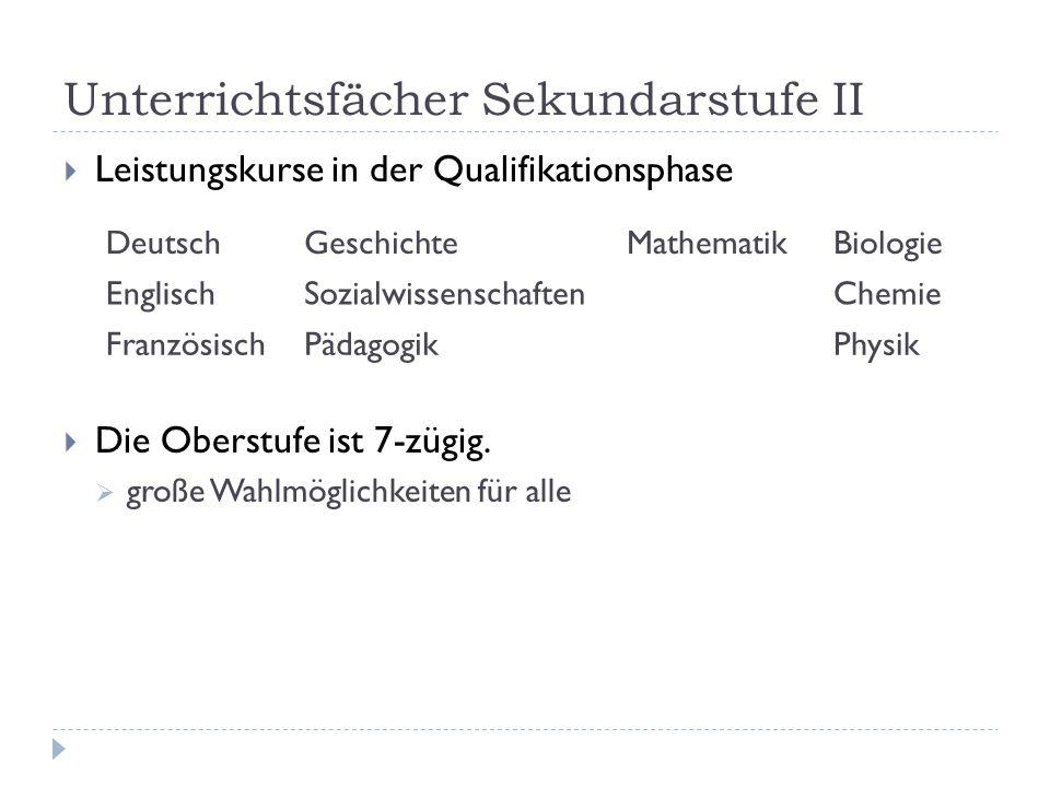 Unterrichtsfächer Sekundarstufe II  Leistungskurse in der Qualifikationsphase  Die Oberstufe ist 7-zügig.  große Wahlmöglichkeiten für alle Deutsch