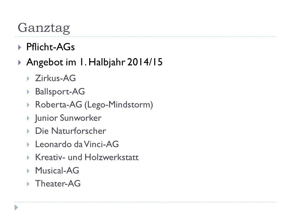 Ganztag  Pflicht-AGs  Angebot im 1. Halbjahr 2014/15  Zirkus-AG  Ballsport-AG  Roberta-AG (Lego-Mindstorm)  Junior Sunworker  Die Naturforscher