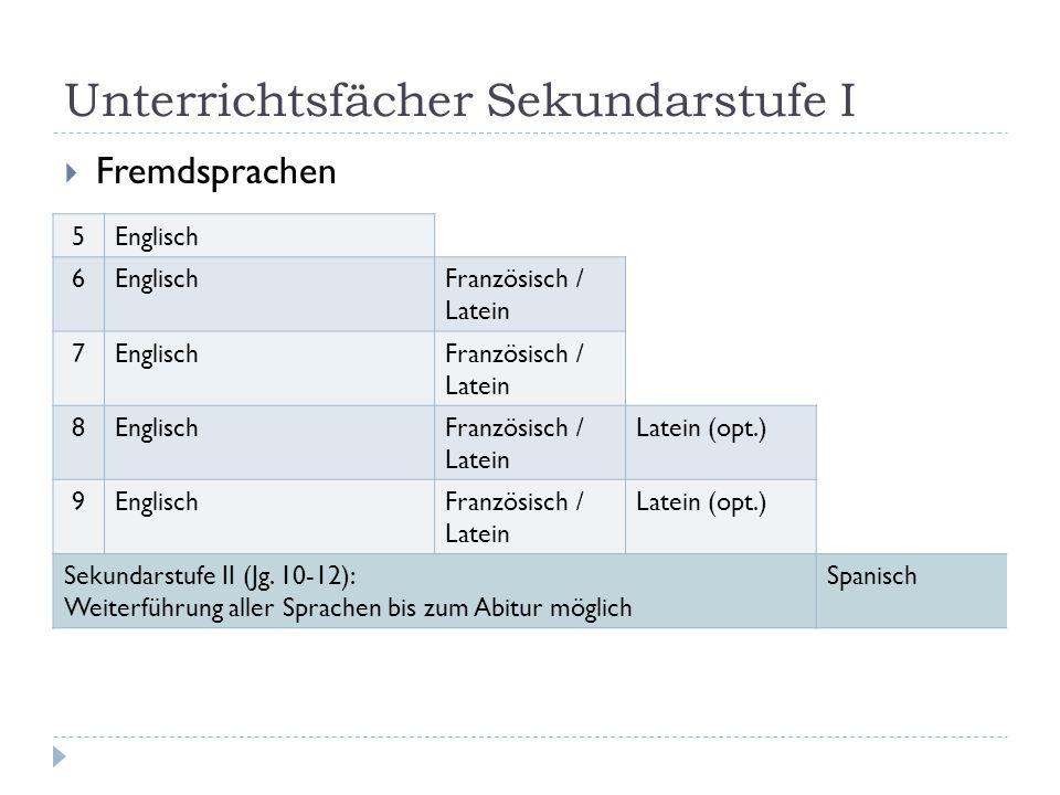 Unterrichtsfächer Sekundarstufe I  Fremdsprachen 5Englisch 6 Französisch / Latein 7EnglischFranzösisch / Latein 8EnglischFranzösisch / Latein Latein