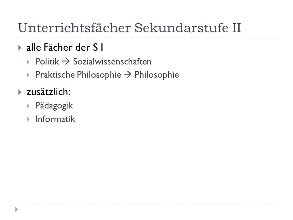 Unterrichtsfächer Sekundarstufe II  alle Fächer der S I  Politik  Sozialwissenschaften  Praktische Philosophie  Philosophie  zusätzlich:  Pädag