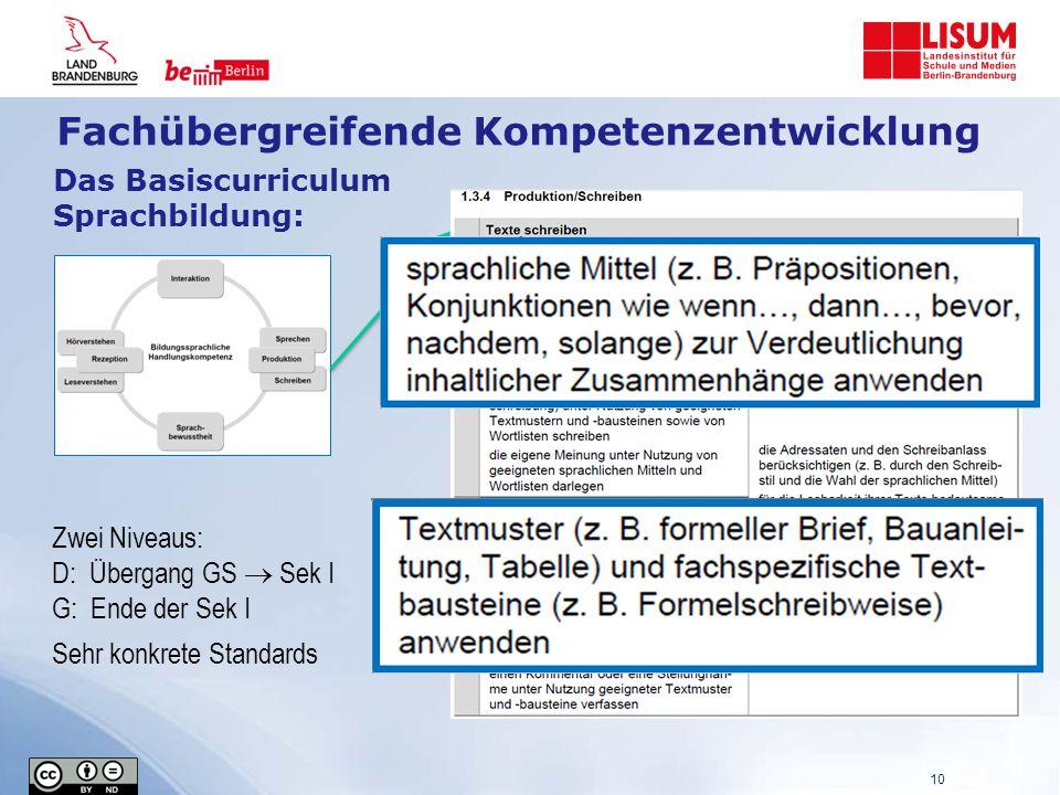 Das Basiscurriculum Sprachbildung: Zwei Niveaus: D: Übergang GS  Sek I G: Ende der Sek I Sehr konkrete Standards 10 Fachübergreifende Kompetenzentwicklung