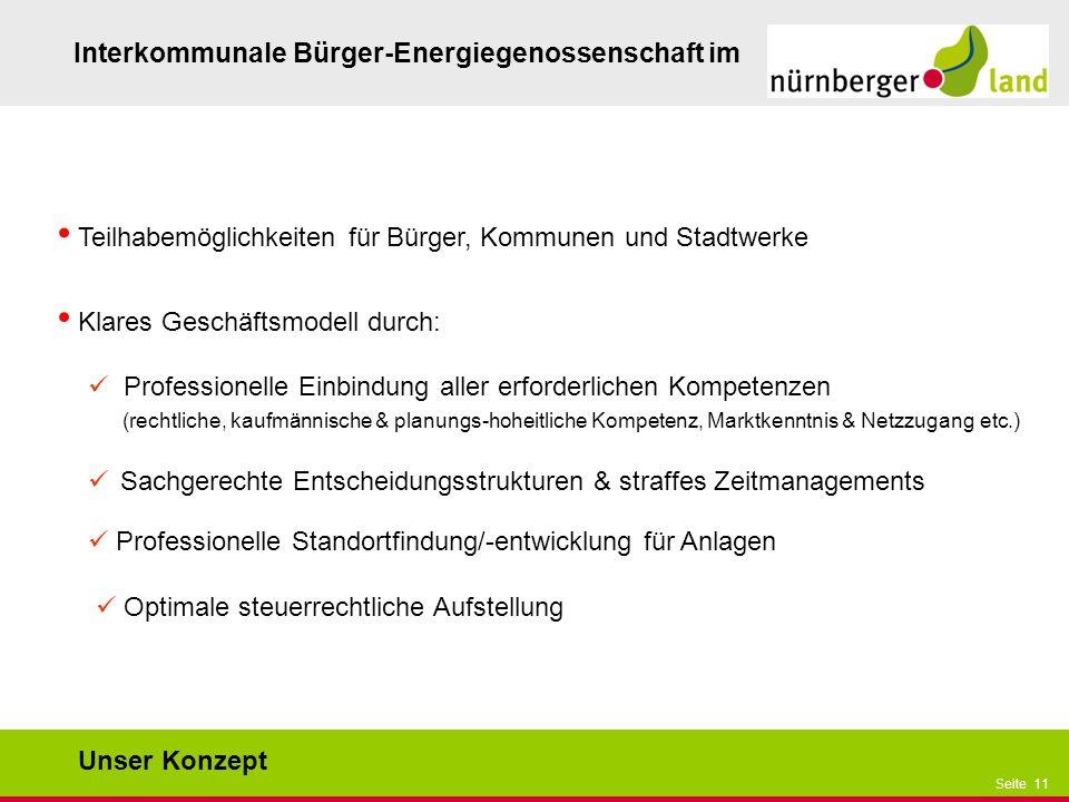 Präsentationstitel bzw. andere wichtige Informationen| Seite 11 Seite 11 Interkommunale Bürger-Energiegenossenschaft im Teilhabemöglichkeiten für Bürg