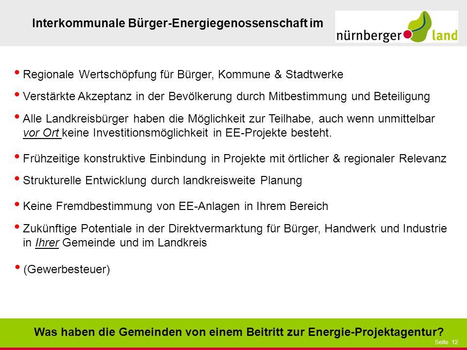 Präsentationstitel bzw. andere wichtige Informationen| Seite 12 Seite 12 Interkommunale Bürger-Energiegenossenschaft im Was haben die Gemeinden von ei