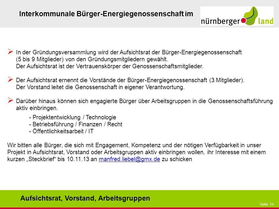 Präsentationstitel bzw. andere wichtige Informationen| Seite 14 Seite 14 Interkommunale Bürger-Energiegenossenschaft im Aufsichtsrat, Vorstand, Arbeit