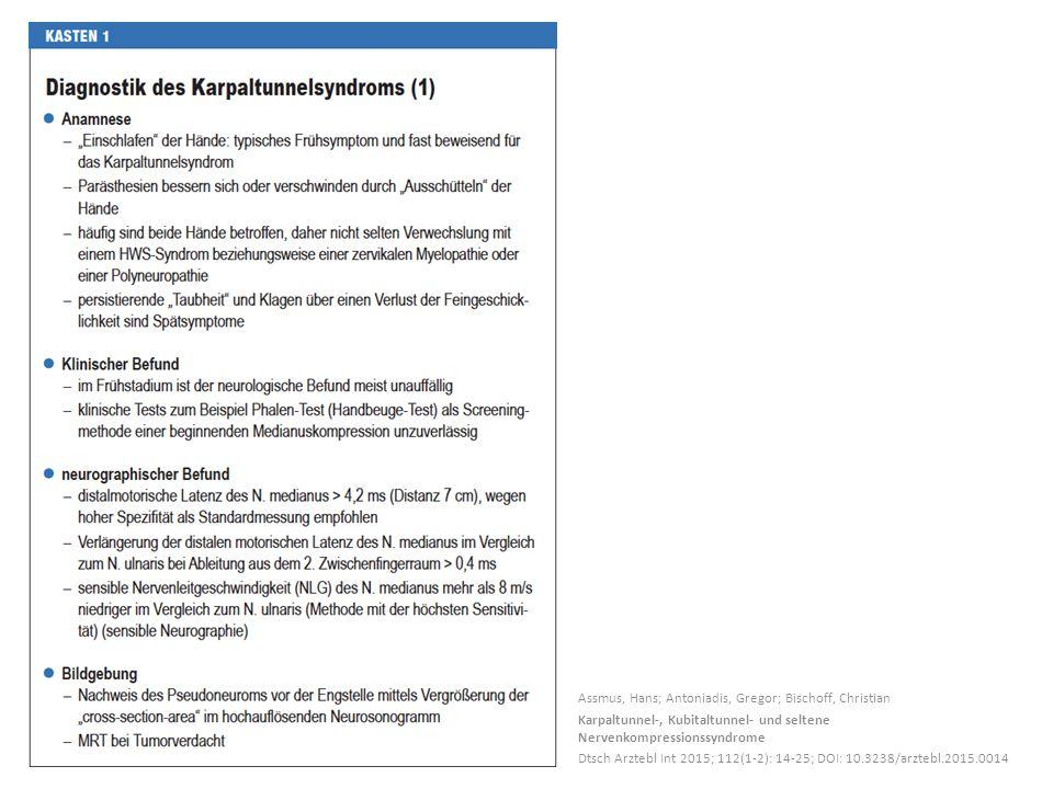 Assmus, Hans; Antoniadis, Gregor; Bischoff, Christian Karpaltunnel-, Kubitaltunnel- und seltene Nervenkompressionssyndrome Dtsch Arztebl Int 2015; 112