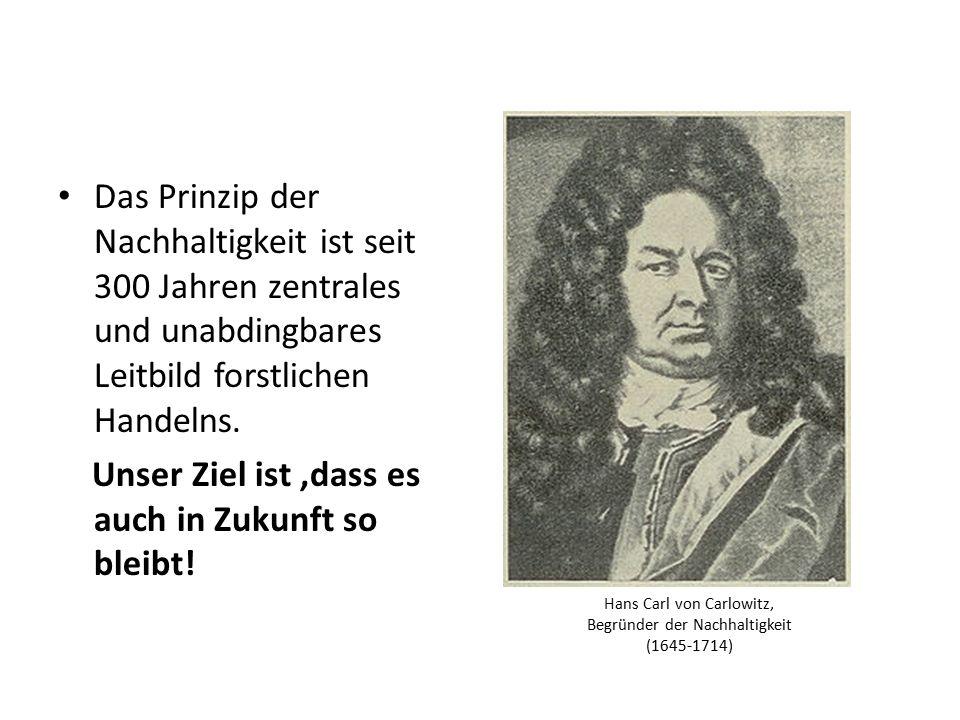 Hans Carl von Carlowitz, Begründer der Nachhaltigkeit (1645-1714) Das Prinzip der Nachhaltigkeit ist seit 300 Jahren zentrales und unabdingbares Leitb