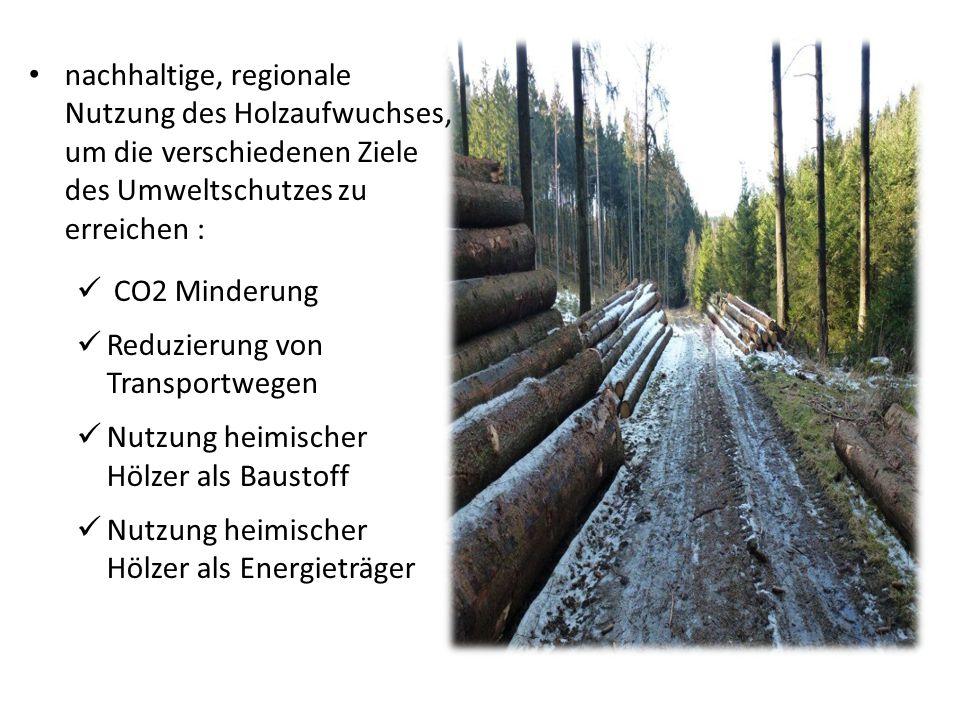 nachhaltige, regionale Nutzung des Holzaufwuchses, um die verschiedenen Ziele des Umweltschutzes zu erreichen : CO2 Minderung Reduzierung von Transpor