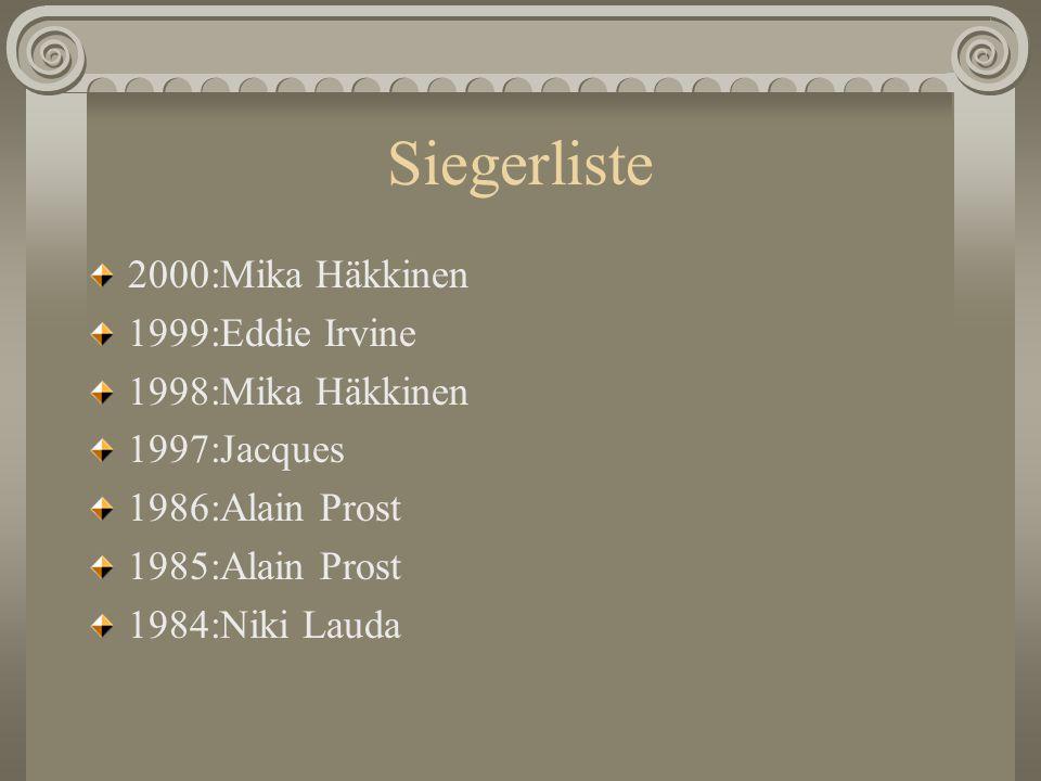 Siegerliste 2000:Mika Häkkinen 1999:Eddie Irvine 1998:Mika Häkkinen 1997:Jacques 1986:Alain Prost 1985:Alain Prost 1984:Niki Lauda