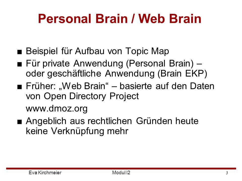 Eva Kirchmeier Aufbau von Personal Brain ■Software, die sich die Arbeitsweise des Gehirns abgeschaut hat ■zur Demonstration von vernetzter Darstellung von Informationen ■Keine Ordner mit Unterklassen, sondern Assoziationen ■Gedanken werden grafisch aufgebaut Modul I2
