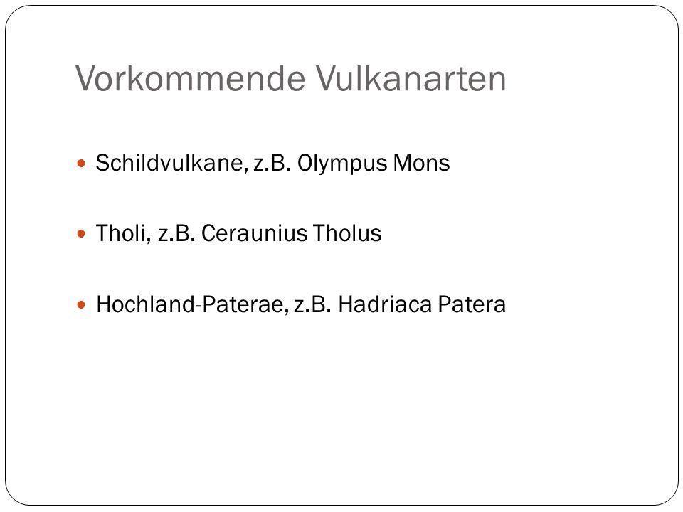 Vorkommende Vulkanarten Schildvulkane, z.B. Olympus Mons Tholi, z.B. Ceraunius Tholus Hochland-Paterae, z.B. Hadriaca Patera