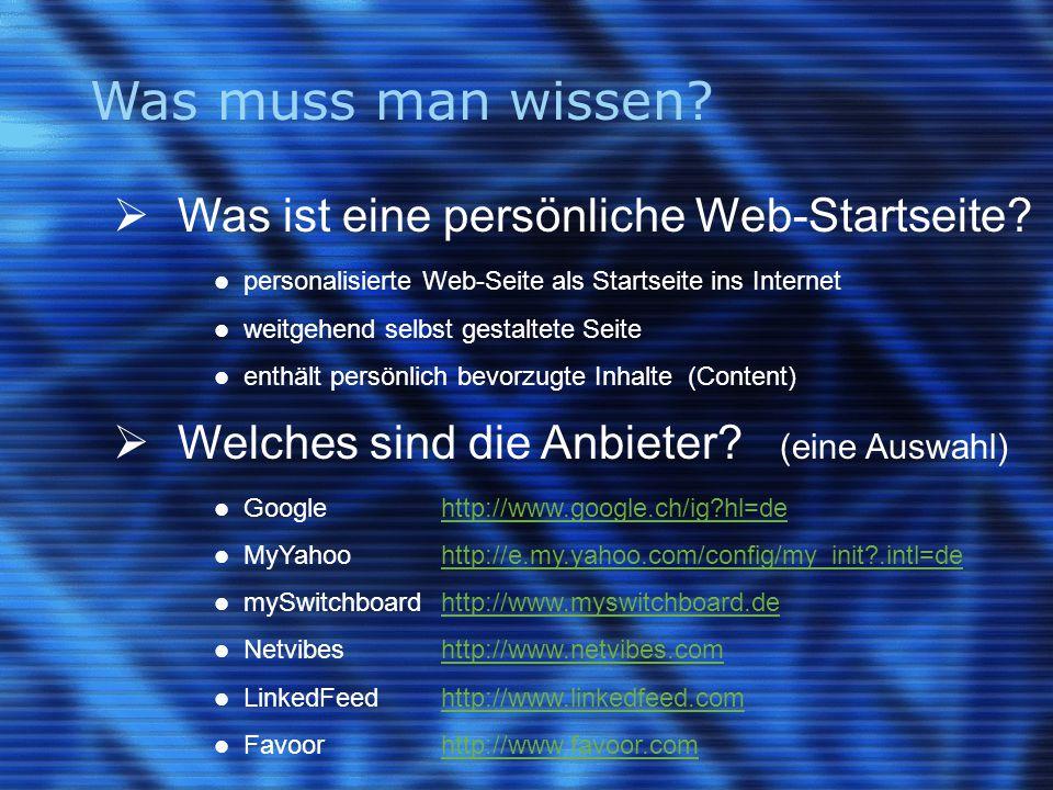 Was muss man wissen.  Was ist eine persönliche Web-Startseite.