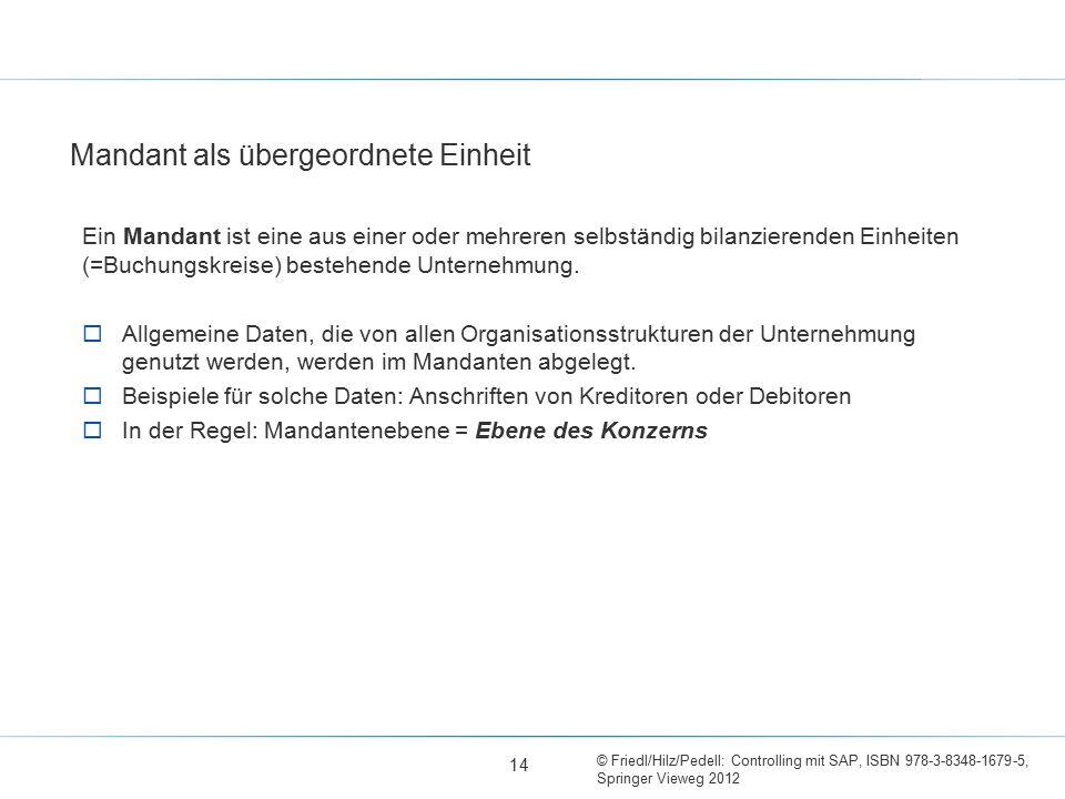 © Friedl/Hilz/Pedell: Controlling mit SAP, ISBN 978-3-8348-1679-5, Springer Vieweg 2012 Mandant als übergeordnete Einheit Ein Mandant ist eine aus ein