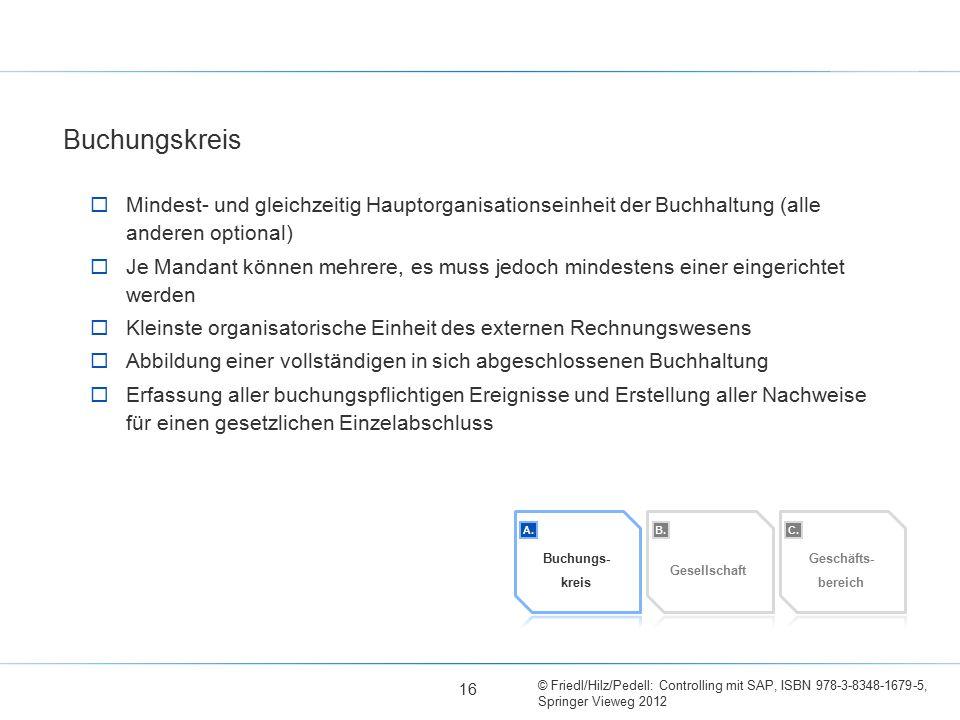 © Friedl/Hilz/Pedell: Controlling mit SAP, ISBN 978-3-8348-1679-5, Springer Vieweg 2012  Mindest- und gleichzeitig Hauptorganisationseinheit der Buch