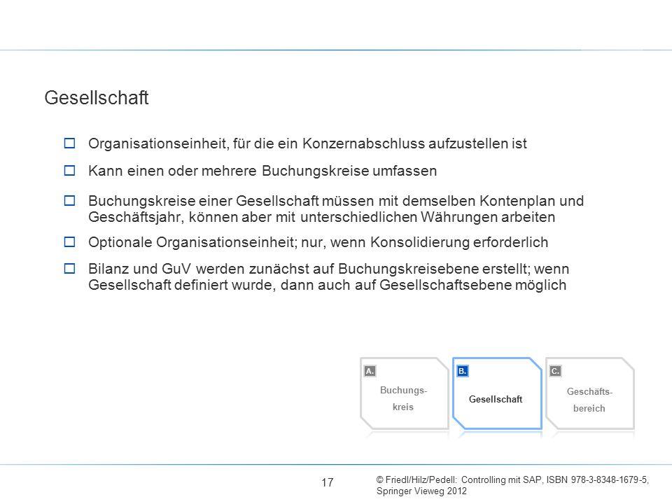 © Friedl/Hilz/Pedell: Controlling mit SAP, ISBN 978-3-8348-1679-5, Springer Vieweg 2012  Organisationseinheit, für die ein Konzernabschluss aufzustel