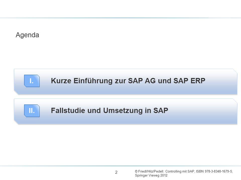 © Friedl/Hilz/Pedell: Controlling mit SAP, ISBN 978-3-8348-1679-5, Springer Vieweg 2012 Kurze Einführung zur SAP AG und SAP ERP Agenda 2 Fallstudie un