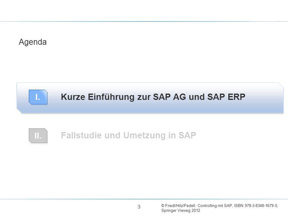 © Friedl/Hilz/Pedell: Controlling mit SAP, ISBN 978-3-8348-1679-5, Springer Vieweg 2012 Kurze Einführung zur SAP AG und SAP ERP Fallstudie und Umetzun