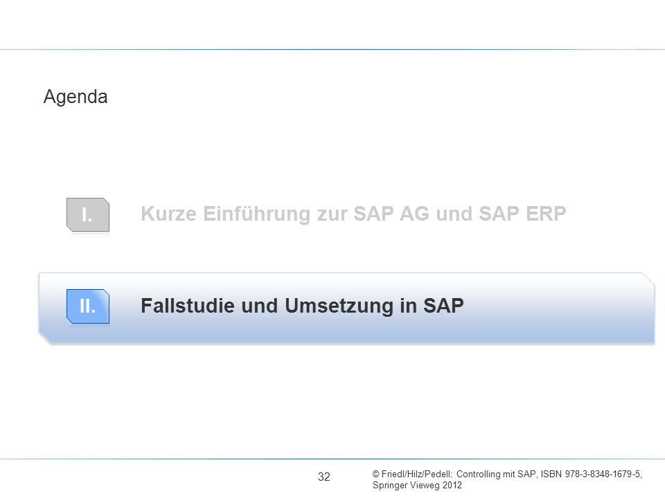 © Friedl/Hilz/Pedell: Controlling mit SAP, ISBN 978-3-8348-1679-5, Springer Vieweg 2012 Kurze Einführung zur SAP AG und SAP ERP Fallstudie und Umsetzu