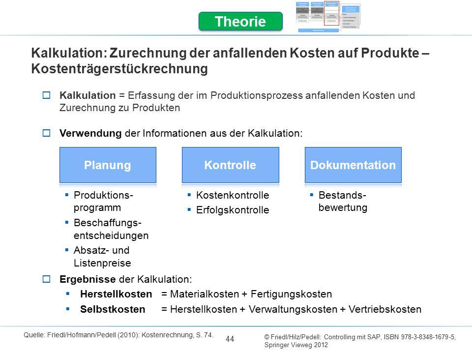 © Friedl/Hilz/Pedell: Controlling mit SAP, ISBN 978-3-8348-1679-5, Springer Vieweg 2012 44 Theorie Kalkulation: Zurechnung der anfallenden Kosten auf