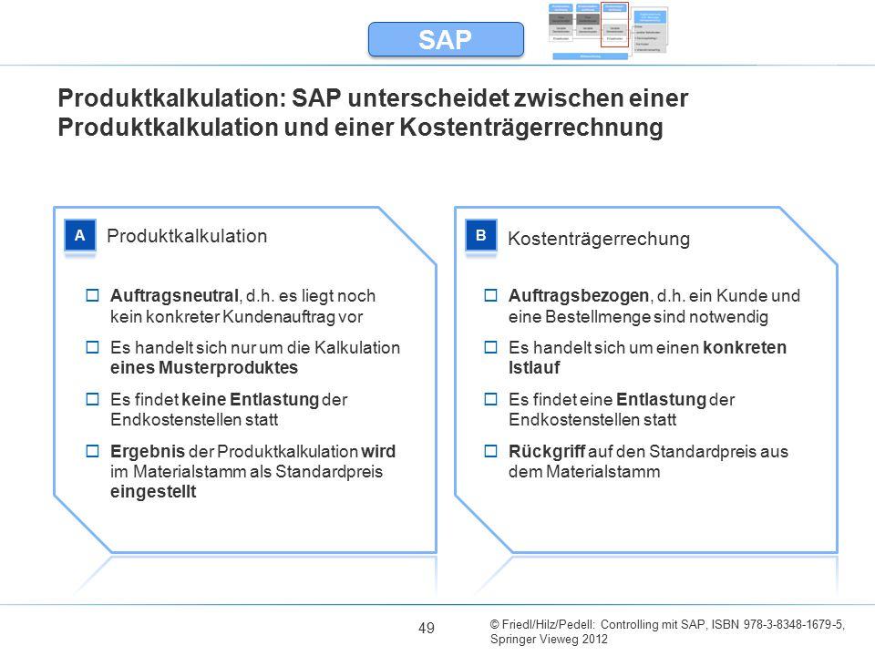 © Friedl/Hilz/Pedell: Controlling mit SAP, ISBN 978-3-8348-1679-5, Springer Vieweg 2012 49 Produktkalkulation: SAP unterscheidet zwischen einer Produktkalkulation und einer Kostenträgerrechnung SAP Produktkalkulation Kostenträgerrechung  Auftragsneutral, d.h.