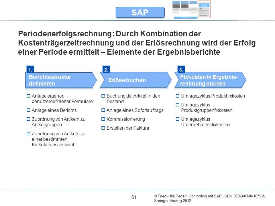 © Friedl/Hilz/Pedell: Controlling mit SAP, ISBN 978-3-8348-1679-5, Springer Vieweg 2012 61 Periodenerfolgsrechnung: Durch Kombination der Kostenträger