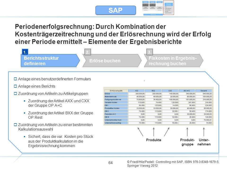 © Friedl/Hilz/Pedell: Controlling mit SAP, ISBN 978-3-8348-1679-5, Springer Vieweg 2012 64 Periodenerfolgsrechnung: Durch Kombination der Kostenträger